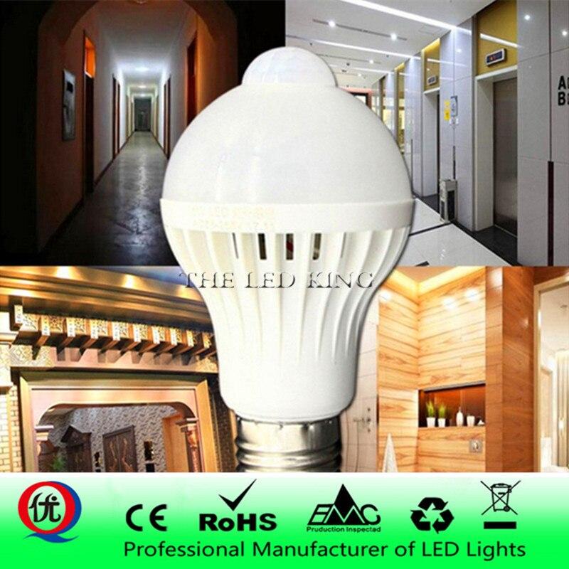 Led pir sensor de movimento lâmpada e27 220 v 8 w 15 w automático de ligar/desligar lâmpada led luz sensível corpo humano movimento detector luzes