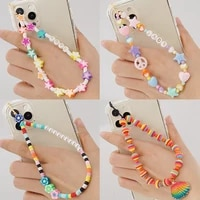 woven beaded anti lost phone chain fruit rainbow soft ceramic lanyard charm strap mobile hanging cord for girls phone charm