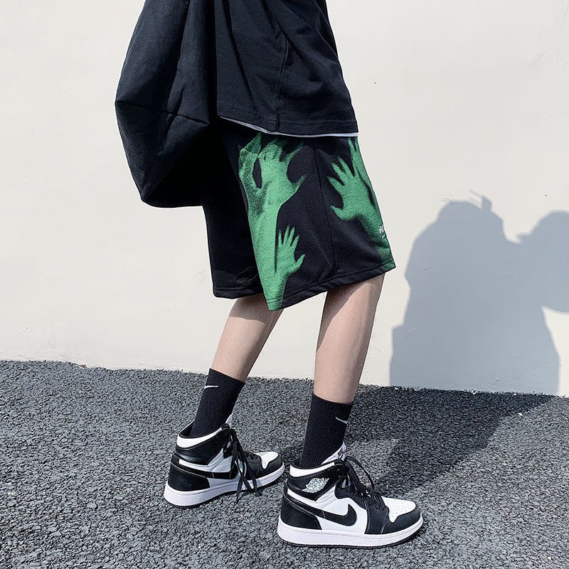 HybSkr Men's Casual Oversize Shorts 2021 Fashion Printed Hip Hop Shorts Korean Streetwear Male Shorts