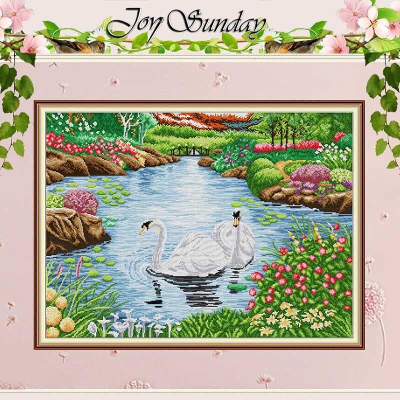 El lago de los cisnes patrones contó Cruz puntada 11CT 14CT juego de punto de cruz DIY chino al por mayor de punto de cruz Kits de costura bordado