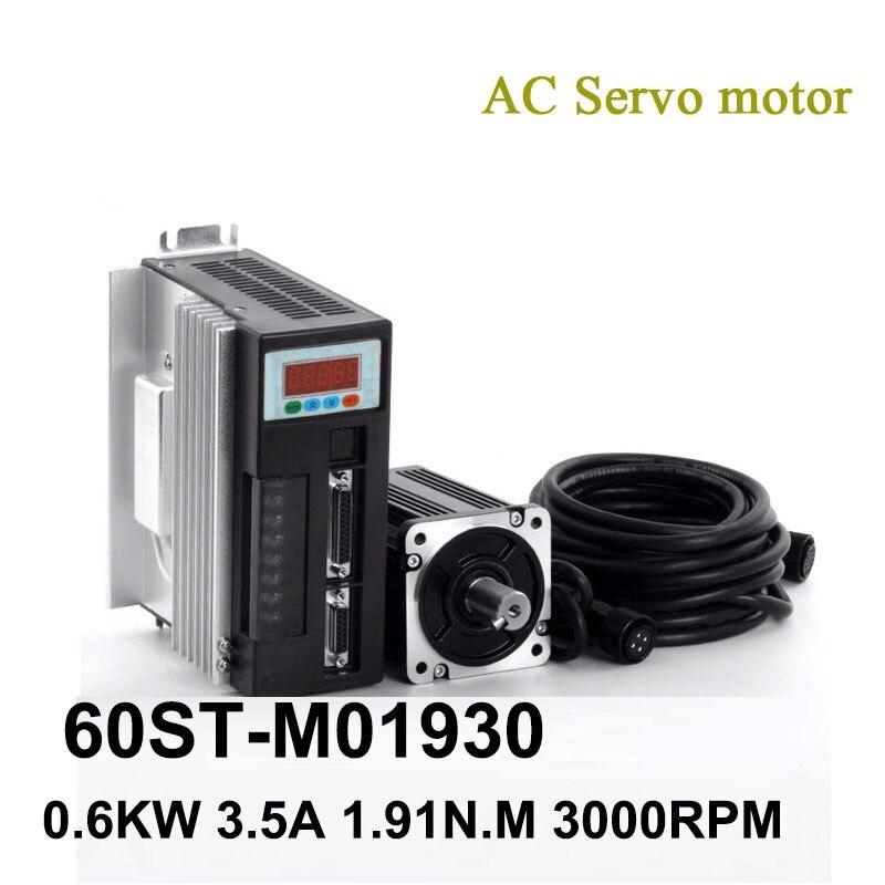 60ST-M01930 220V 600W 3000RPM محرك سيرفو يعمل بالتيار المتردد 1.91N.M. مرحلة واحدة التيار المتناوب محرك سيرفو المغناطيس الدائم المتطابقة سائق AASD-15A