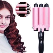 Bigoudi électrique 3 baril en céramique vagues profondes Salon de coiffure outil de coiffure à la maison Styler cheveux Waver outils de coiffure