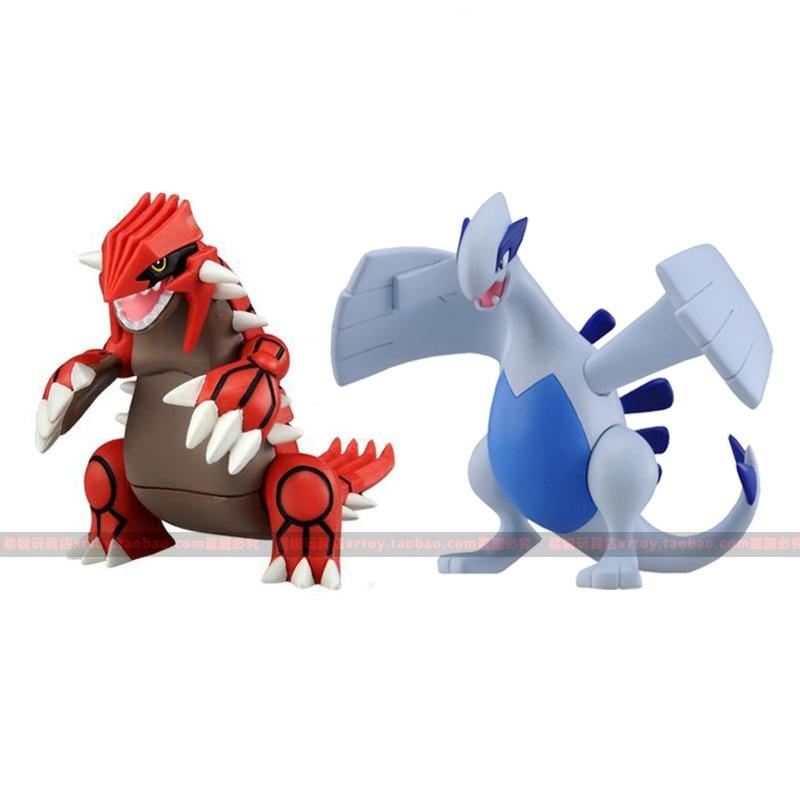 Tomy, elfo, Pokemon, animales míticos, gruudon Gura, comida, Lugia, 2 muñecas, Pokémon