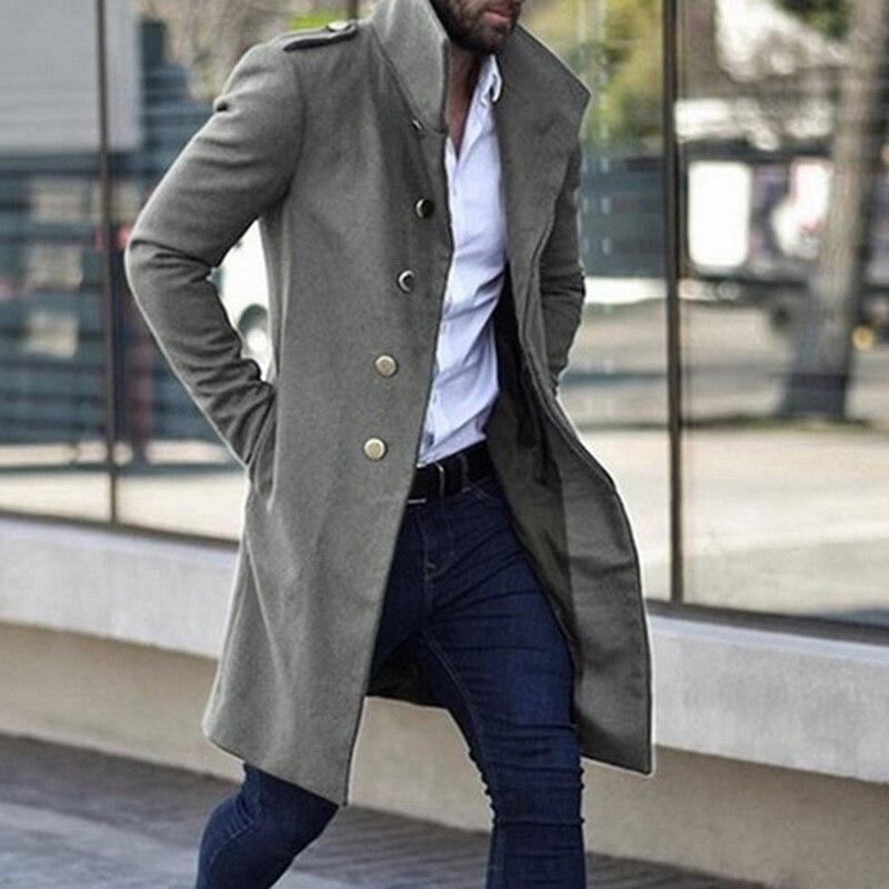 Casaco de trincheira masculino, sobretudo para homens, jaqueta slim de cor sólida, colar de pé, único-breasted longa, casaco de trincheira
