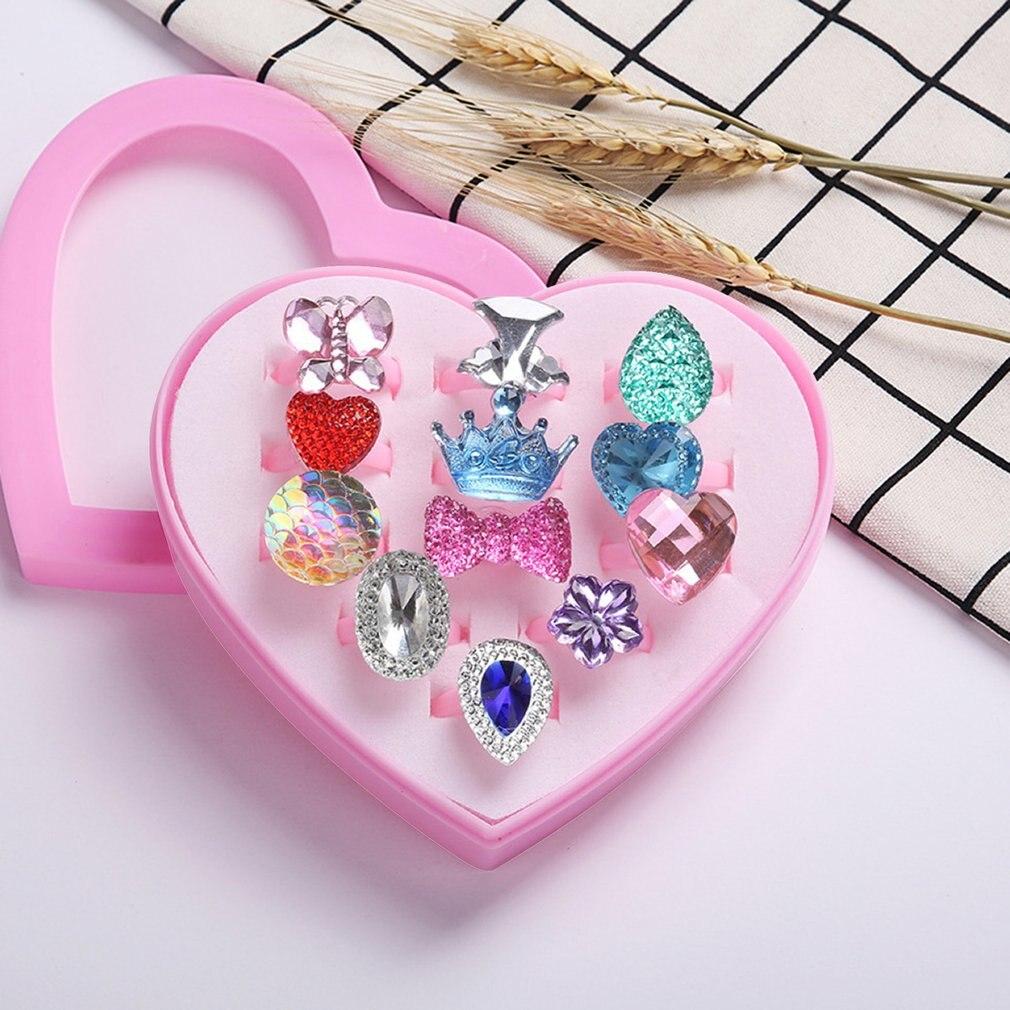 12PCS/SET Fashionable Resin Cartoon Rings Children Rings For Girls Ring Set Finger Rings Jewelry Display Box Kids Toy Gift