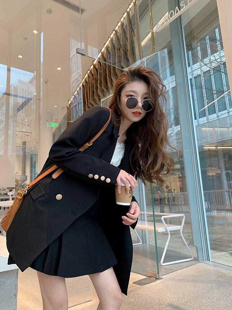 Women Skirt Bailey Sweet Wine Black Suit Coat Women's Pleated Skirt Two-piece Set Small Suit