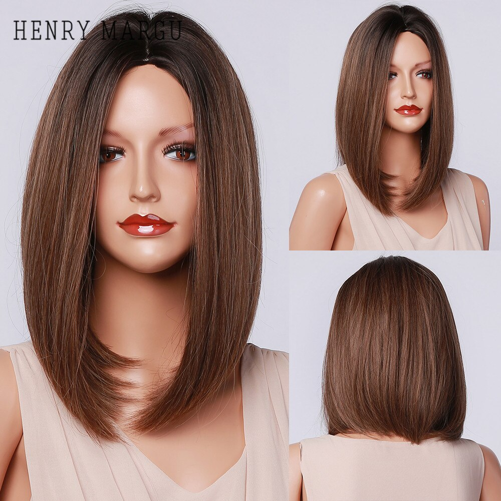 HENRY MARGU Bob Straight Brown Black Ombre Synthetic Wig Natural Short Wig for Women Middle Part Cosplay Wigs Heat Resistant