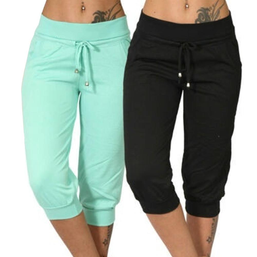AliExpress - Women Casual Solid Color Low Rise Drawstring Pockets Sports Capri Pants High Waist Pants Streetwear Casual Pant