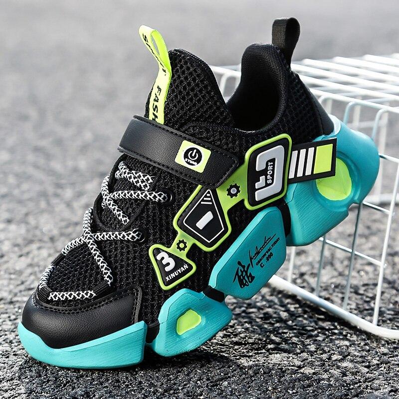 Sapatas das crianças de alta qualidade tênis respirável para meninos crianças leves sapatos de fundo macio tênis corrida tenis infantil