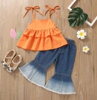 summer girls clothes set sleeveless crew neck ruffle hem sling tops and gradient color flared jeans