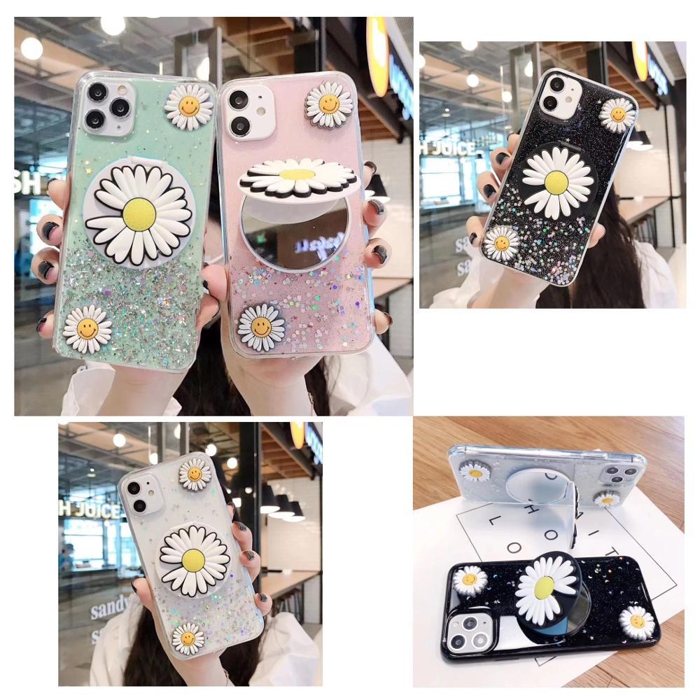 3D Daisy Makeup Mirror Glitter StarrySky Soft Phone Case For Huawei Honor 7A 7X 8 9 9A 9X 9Lite 9i 10 10i 10Lite Lite Pro A X S