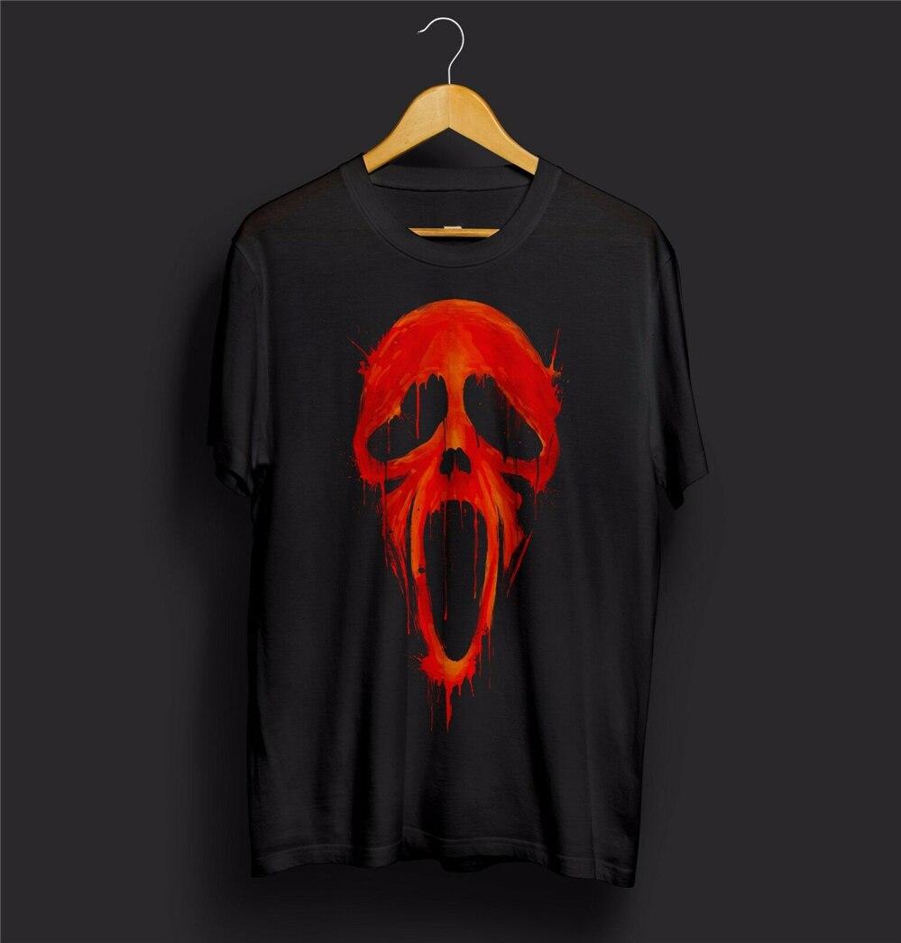 Camiseta de grito para hombre y mujer, máscara de miedo, película, sangre, Ghostface, Horror, fantasma, zombi, Halloween, adultos, camiseta informal