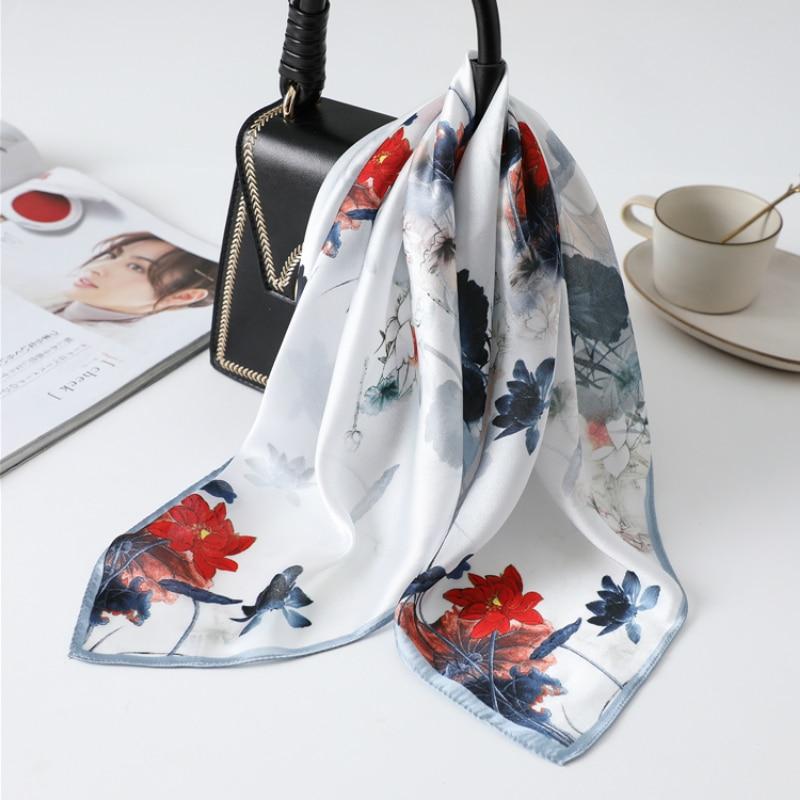2020 de seda cuello bufanda de las mujeres cabeza banda impresión Floral para mujer Foulard pelo bolsa bufandas corbata pañuelo Bandana 53*53cm