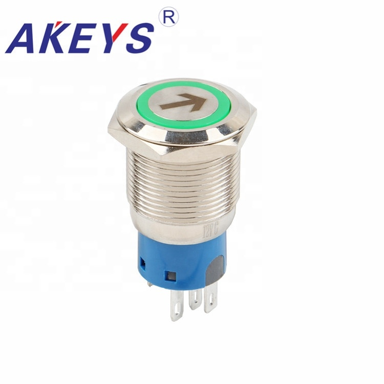 10 Uds PX19B-P11Z-Earrow interruptor de botón impermeable de alta descarga 19mm interruptor de tecla de botón
