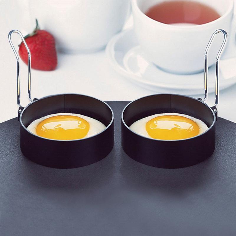 Molde antiadherente de acero inoxidable para huevos fritos con mango, molde redondo para panqueques, molde para panqueques fritos, molde para tortillas, herramienta de cocina