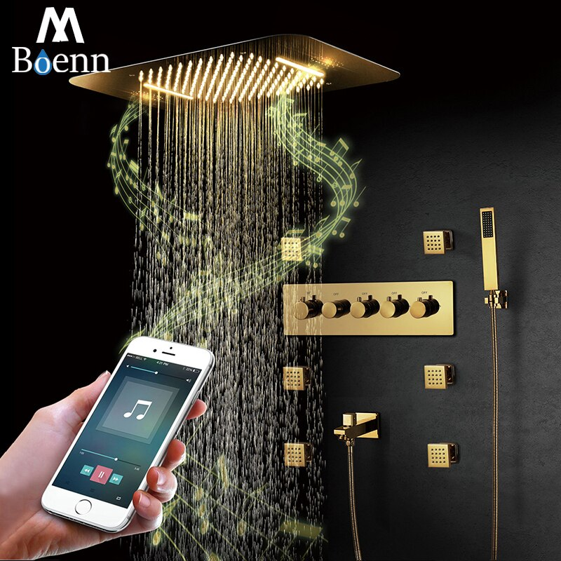M Boenn-نظام دش LED ، صنبور حمام نحاسي مخفي ، رأس دش مطري ، ثرموستاتي ، صنبور خلاط