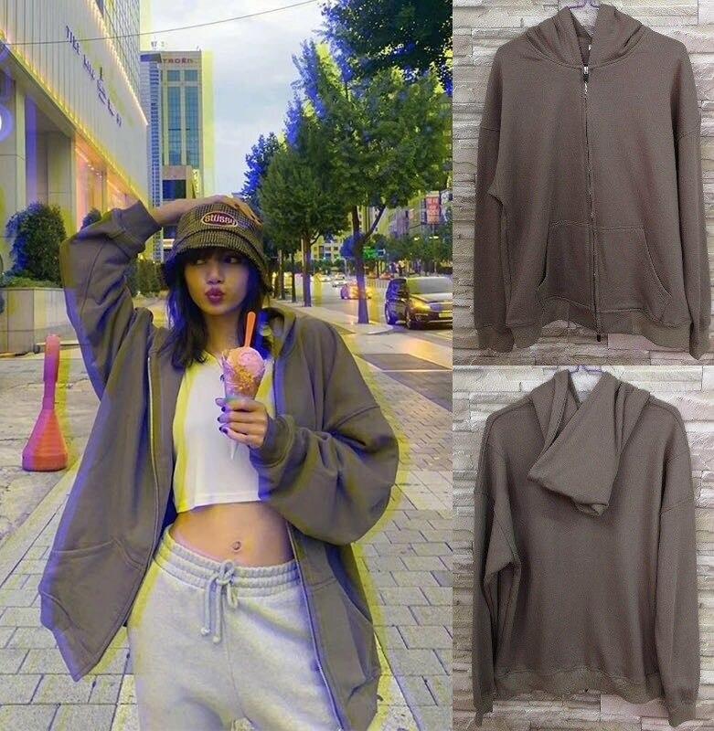 Europa y los Estados Unidos Kanye el mismo Dios de la niebla gris cardigan más terciopelo doble cremallera con capucha hombres y mujeres Sudadera con capucha