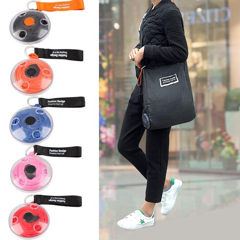 5 colores lindo plegable de moda bolso eco bolsa de compras de supermercado bolsas portátil