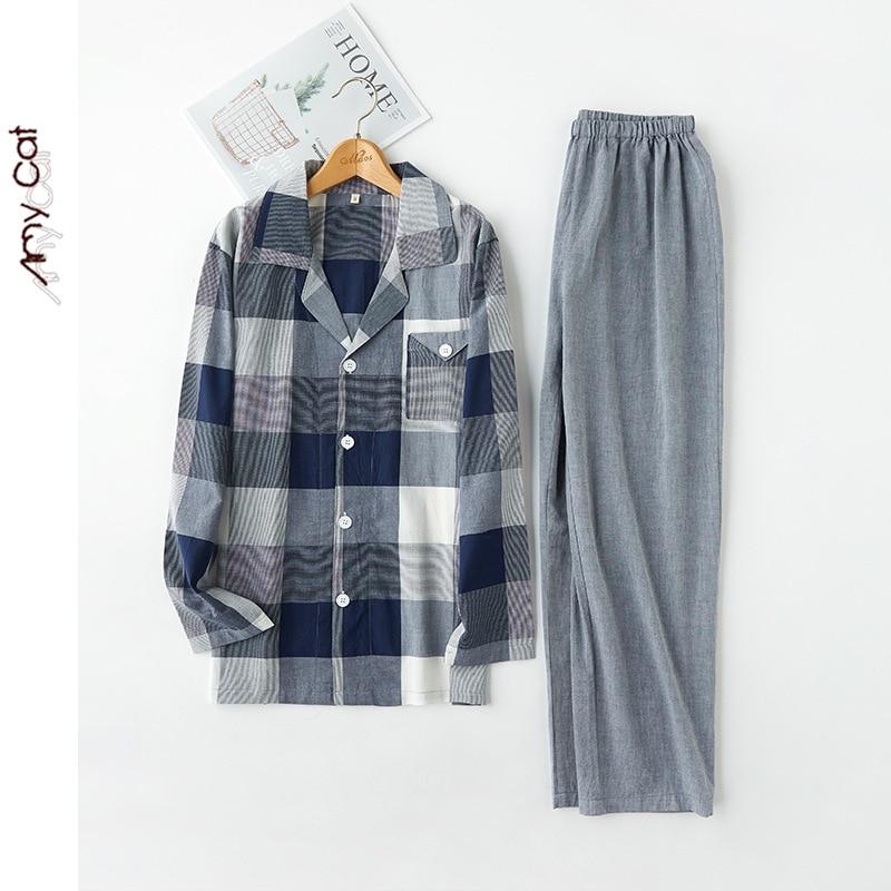 Spring Couples Pure Cotton Long Sleeve Pajamas Mixed Colors Plaid Men Sleepwear Turn-down Collar Leisure Suits Sleep Nightwear