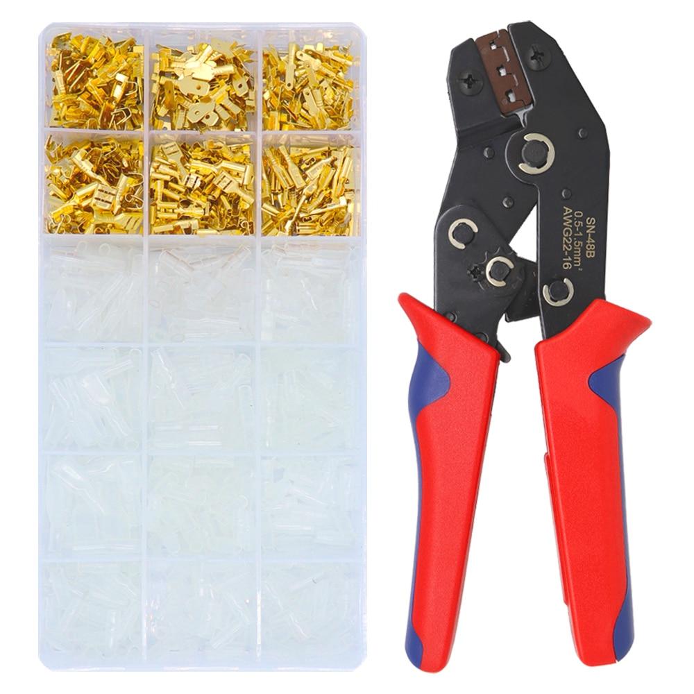 SN-48B Crimping Tool 600 Pcs 4.8/6.3 Plug Terminal Crimper Crimping Pliers Wire 0.5-1.5mm2 Pliers AWG 20-15 Hand Tool krimptang