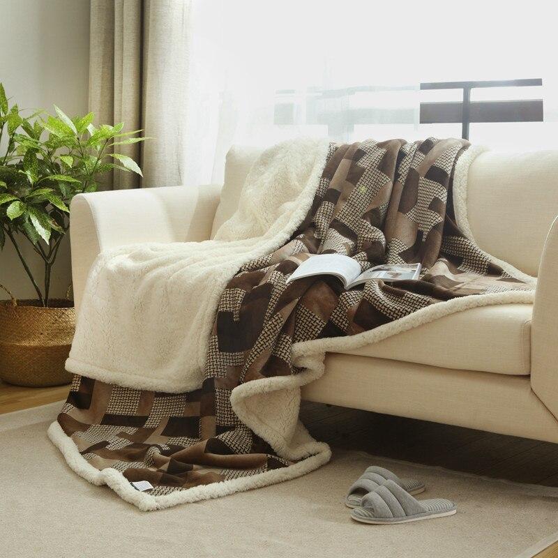 دافئ لينة بطاطين صوف طبقة مزدوجة سميكة أفخم رمي على أريكة سرير الطائرة البلايد الصلبة المفارش النسيج بطانية مخملية الضأن