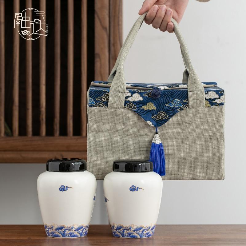 شاي سيراميك منظم العلب الصغيرة صندوق شفاف هدية صندوق السيراميك صندوق حاوية تخزين مع غطاء كيس شاي صندوق تخزين الشاي caddie BG50TC