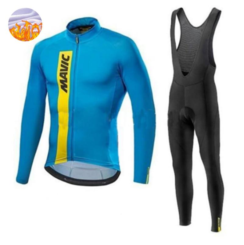 MAVIC-Maillot de manga larga para Ciclismo, conjunto de Ropa térmica de lana...