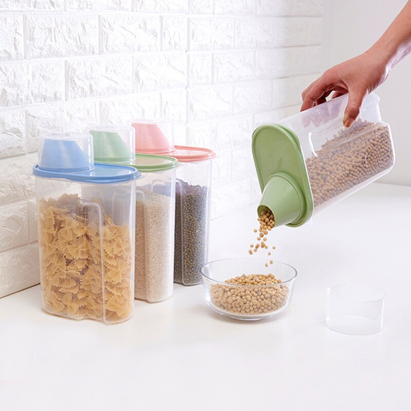 1 Uds. Botella de plástico transparente para almacenamiento, granos de cocina, latas selladas, tarro de baño, detergente en polvo, tanque de almacenamiento, organizadores de cajas mx01241546