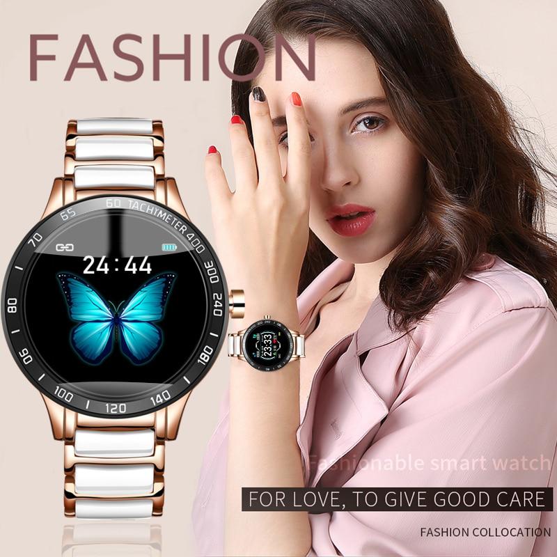 LIGE Woman Smart Watch Waterproof Sport Fitness Tracker Heart Rate Blood Pressure for iOS Android Ceramic Strap smartwatch Women