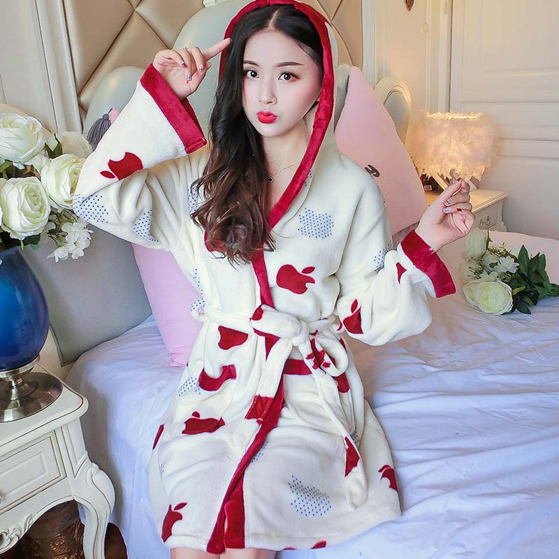 Suave franela de lana de Coral de las mujeres caliente de manga completa Super largo traje de baño Kimono femenino Albornoz bata batas Otoño Invierno