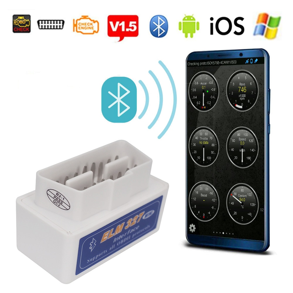 Elm327 V1.5 Bluetooth OBD2 II Android escáner IOS para Volkswagen VW Mercedes BMW Mitsubishi Suzuki Buick Kia coche herramienta de diagnóstico