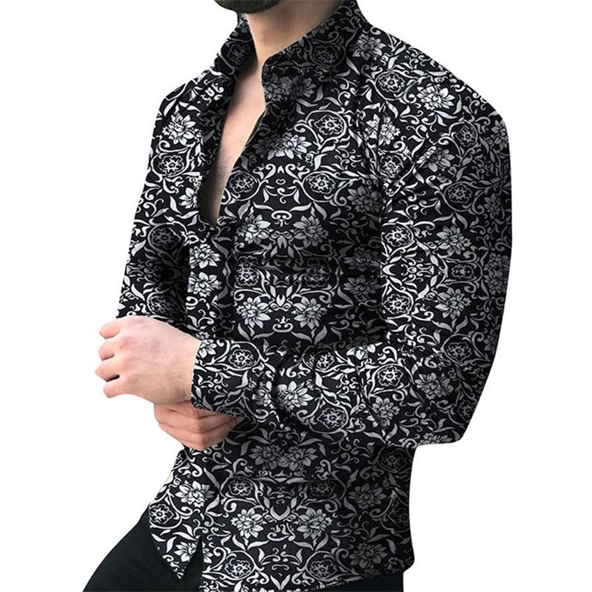 Мужская брендовая рубашка с длинным рукавом, мужские рубашки с цветочным принтом, повседневные рубашки, мужские топы на лето и осень