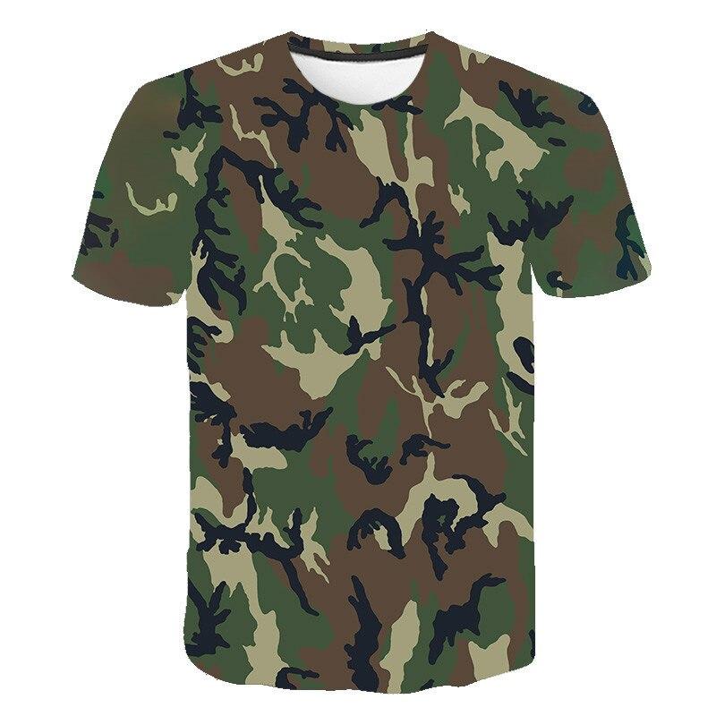 Camiseta transpirable de manga corta con estampado 3D de camuflaje verde gris...