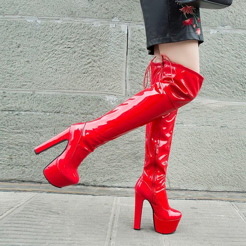 Rimocy النساء منصة على الأحذية في الركبة مثير 17 سنتيمتر سوبر عالية الكعب الأحمر براءات الاختراع والجلود أحذية طويلة امرأة 2021 الشتاء الأسود أحذي...