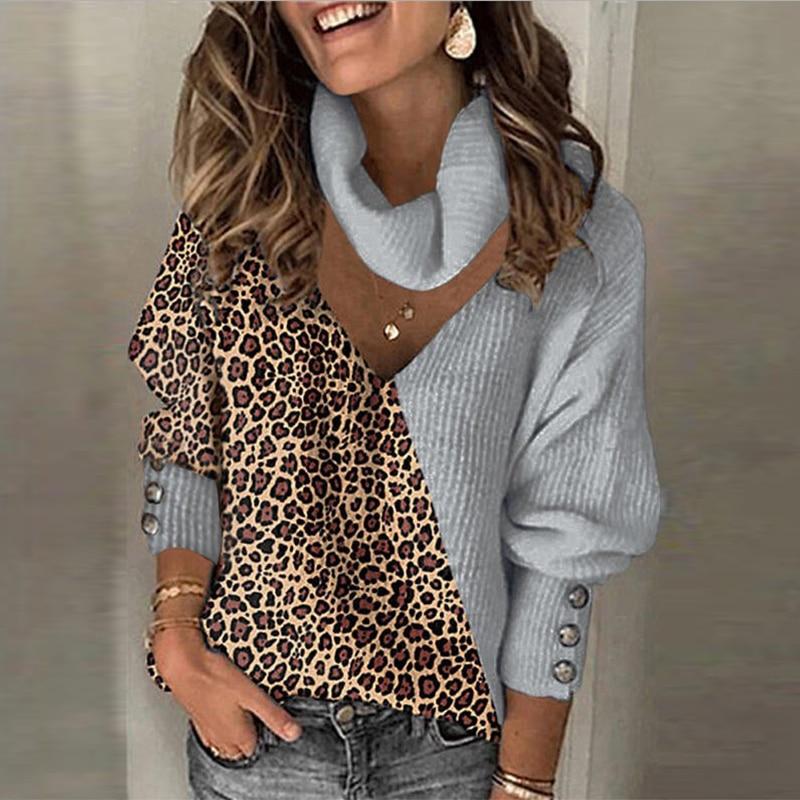 Весенние женские свитера, Свитера с леопардовым принтом в стиле пэчворк, водолазка, пуговица для пуловера, свободные женские свитера с длин...