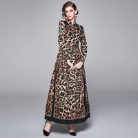 merchall 2020 fashion designer runway long dress womens turn down neck long sleeve leopard print vintage party maxi dress