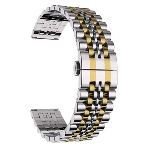 Stainless Steel  Watch bands for Samsung Gear S3 Solid Double Push Button Fold Watch Buckle Butterfly  Clasp Watch Strap WB119
