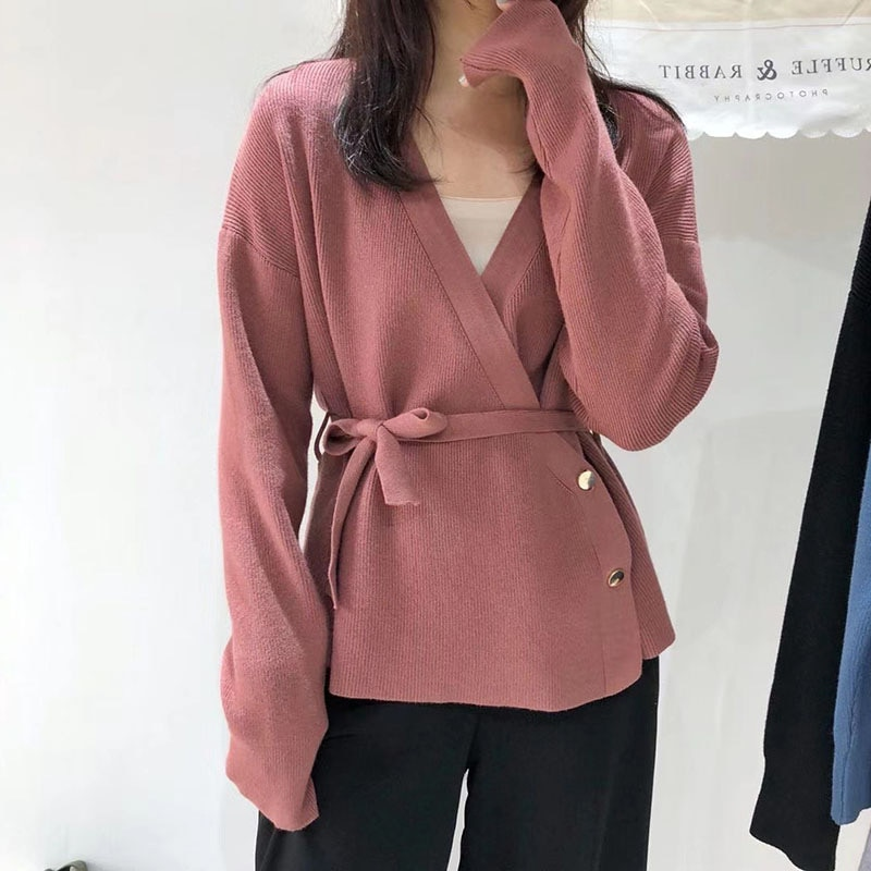 Autumn Winter Women Elegant Solid  Buttoned Cardigan Casual With Belt Lady Fashion V-Neck Knitted Sweater Cardigan Female female costume emberens 4217 striped handsome casual with belt autumn winter российское production delivery from russia