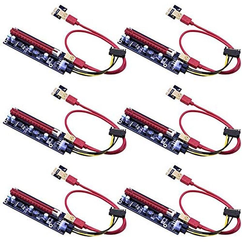 6 stücke PCIE Riser 1X zu 16X Grafiken Verlängerung für GPU Bergbau Powered Riser Adapter Karte, 60cm USB 3,0 Kabel VER009S
