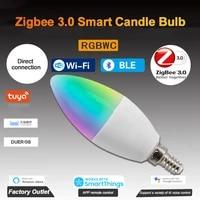 Ampoule de bougie intelligente Tuya Zigbee3 0 RGBCW 5W LED  telecommande vocale  fonctionne avec Alexa Google Home