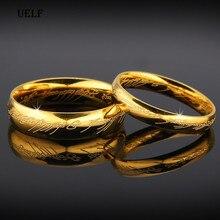Uelf haute qualité couleur or Hobbit cadeau en acier inoxydable un anneau de puissance bijoux seigneur de bague pour femmes hommes livraison gratuite