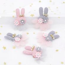 10Pcs Plush Rabbit Flower Rhinestone Applique for DIY Clothes Hat Headwear Patch Sewing Crafts Gloves Leggings Socks Decor H85