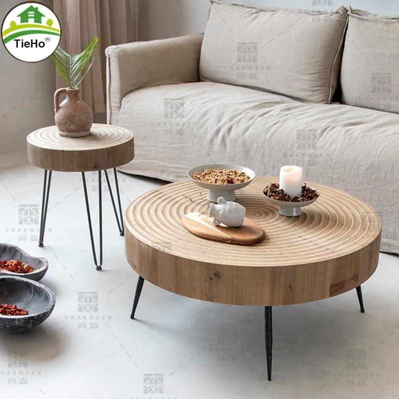 TieHo غرفة المعيشة الرجعية طاولة القهوة شقة صغيرة الشمال أريكة بسيطة طاولة جانبية منخفضة الجدول النمط الياباني طاولة مستديرة