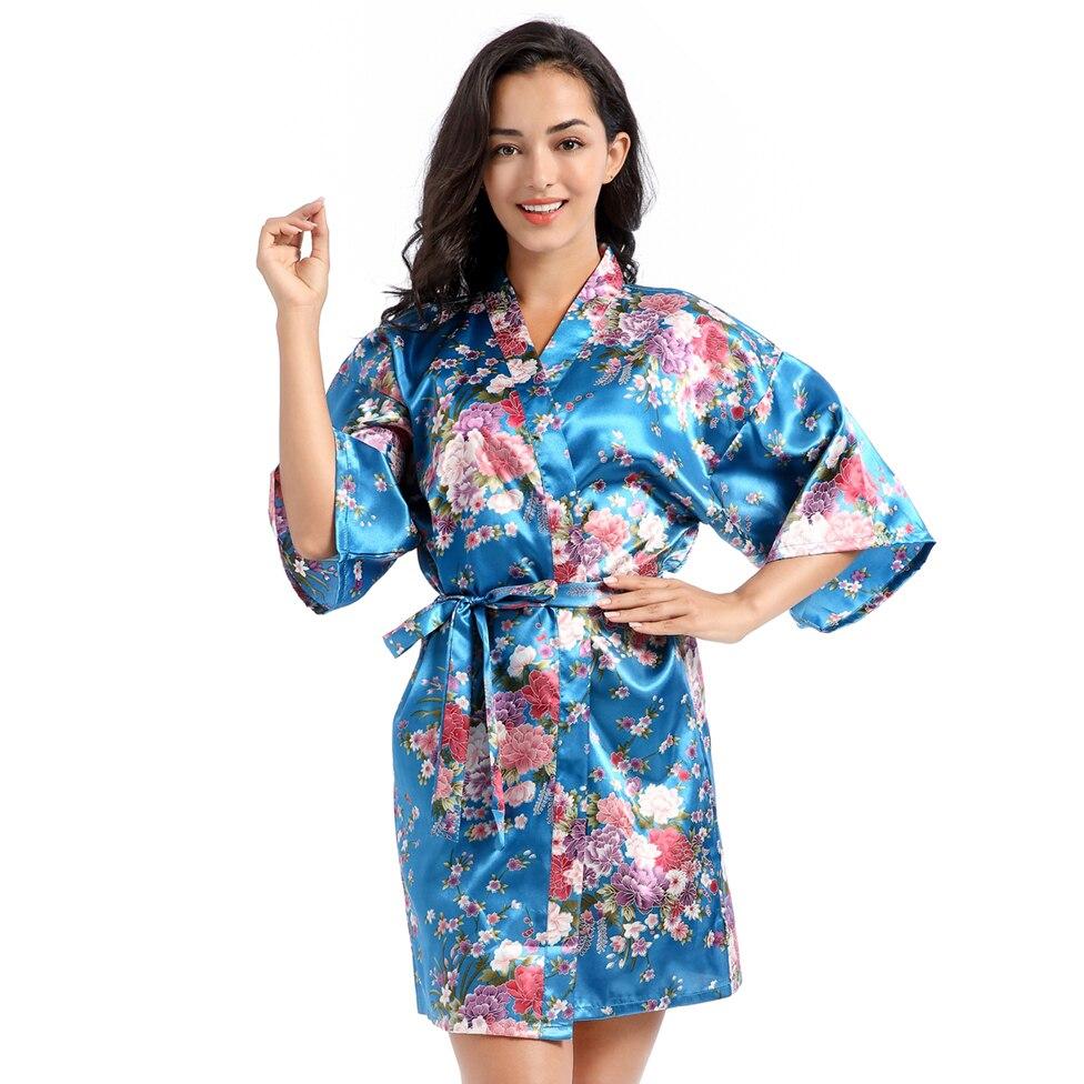 Bata kimono satinado Albornoz de mujer Vestido corto novia dama de honor traje de boda ropa de dormir Sexy ropa de dormir estampado flor ropa de casa