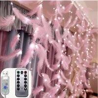 Guirlande lumineuse avec plumes USB LED de 3M  pour bricolage  decorations de noel  pour salle de maison  noel  decoration de fete de mariage