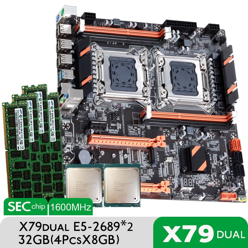 [해외] Atermiter-x 79 듀얼 CPU 마더보드 세트, 2 × 제온 E5 2689 4 × 8GB = 32GB 1600MHz PC3 12800 DDR3 ECC REG 메모리 세트