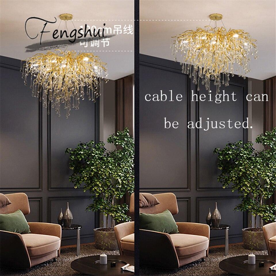 Nordic Crystal Chandeliers LOFT Villa Large Luxury Ceiling Chandelier for Living Room Hotel Hall Art Bedroom Decor Hanging Lamp