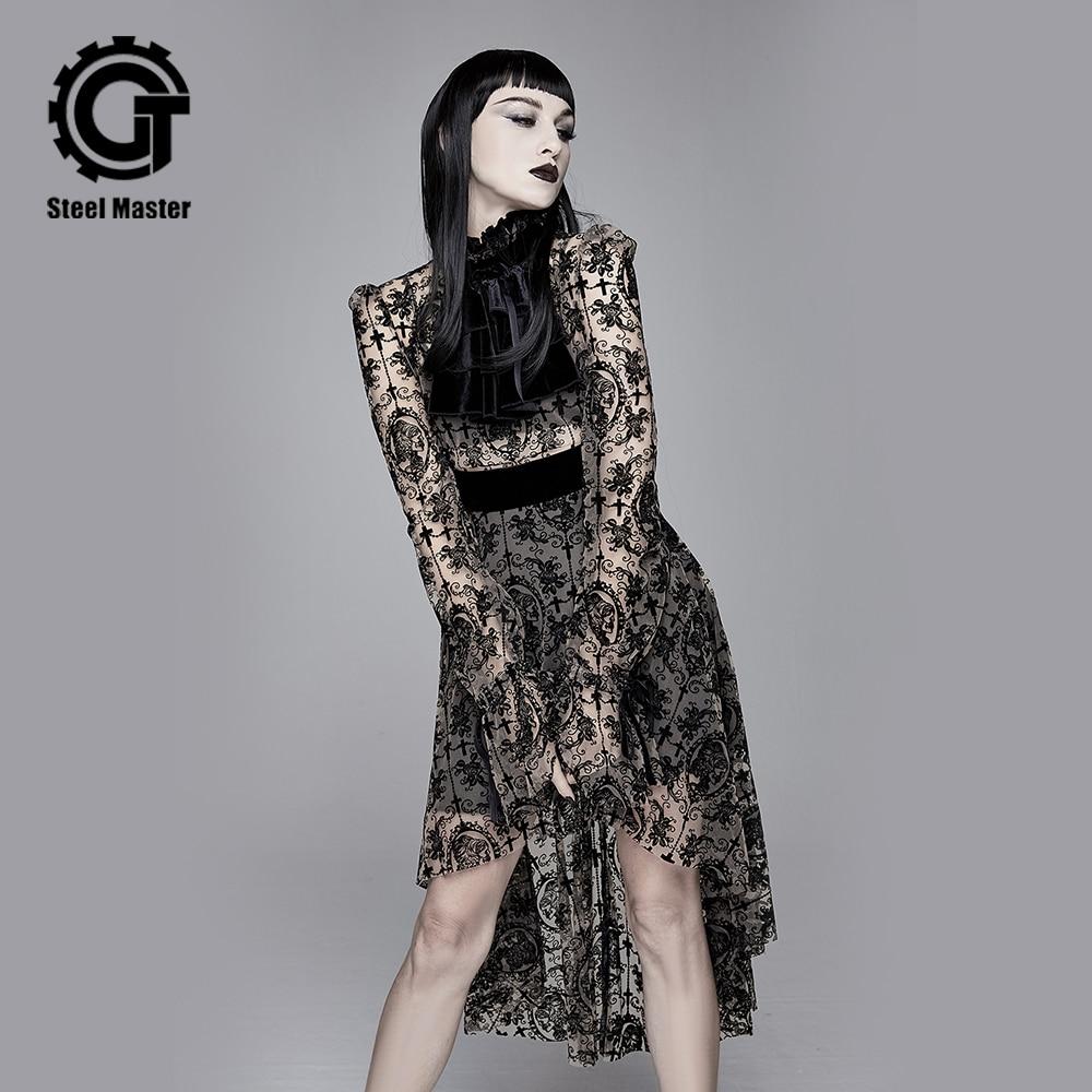 Devil Fashion Punk Long Sleeve Apricot Black Dress Lace Maxi Dress Gothic Prom Party Sexy Dress
