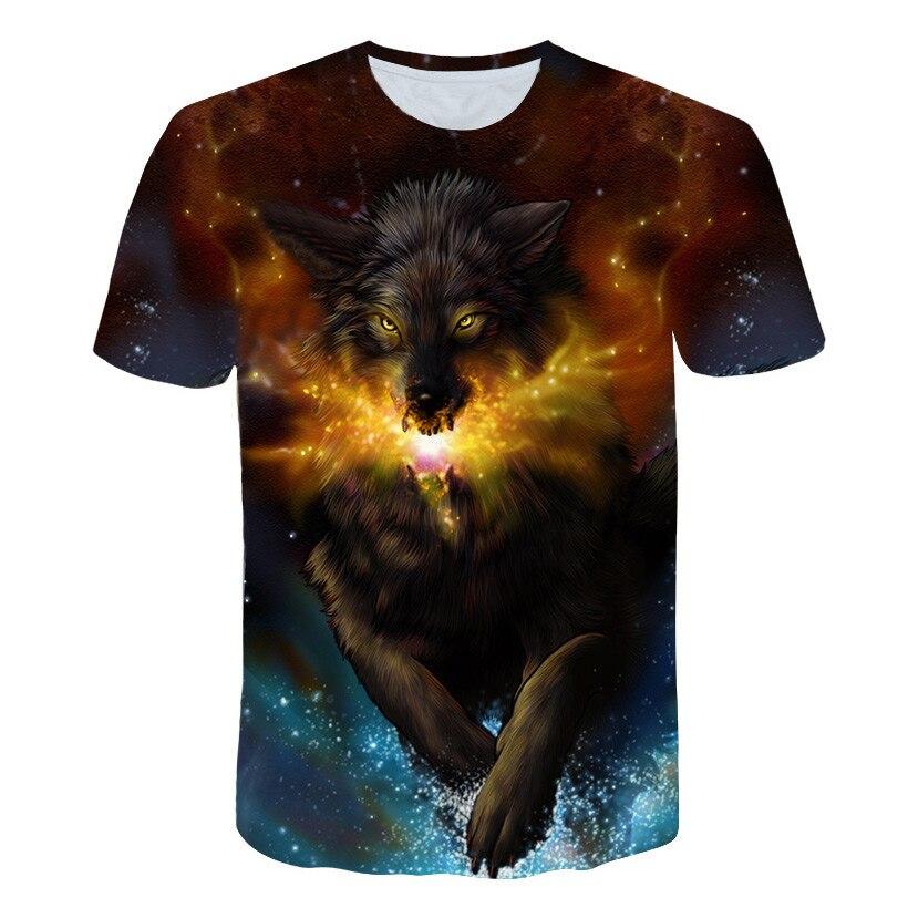 2020 nuevo de talla grande de los hombres S-6XL 3D camiseta de los hombres camiseta de verano Lobo imagen camiseta Camiseta de manga corta cuello superior de la nave de la gota