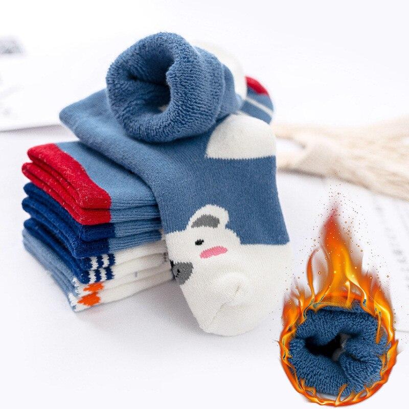 5 par/lote invierno más algodón espesar calcetines para niños térmico calcetín abrigado para niños pequeños bebés niños calcetines de piso para 1-10 años